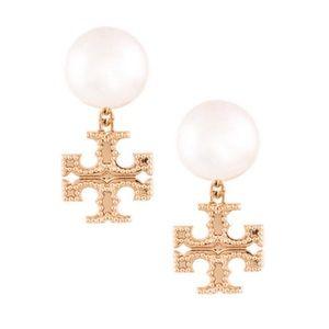 TORY BURCH • Gold Milgrain Pearl Earrings